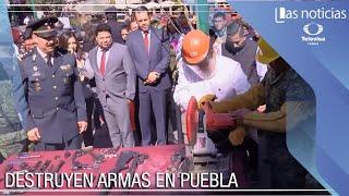Destruyen de armas en el zócalo de Puebla