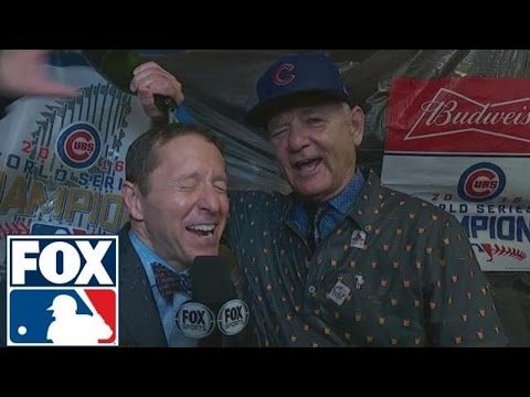 Bill Murray poured champagne on Ken Rosenthal after the Cubs won | 2016 WORLD SERIES ON FOX