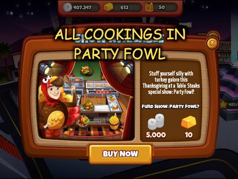 All Cookings In Party Fowl & HIDDEN RECIPE - STUFFING (Cooking Dash)