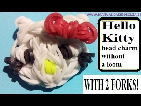 Hello Kitty head figurine With two forks without Rainbow Loom Tutorial. (Mini Figurine)
