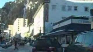 Winter drive thru Downtown Juneau Alaska