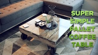 BUILD: Super Easy Pallet + Glass Coffee Table!