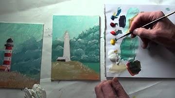 10-Minuten-Malerei: Leuchtturm vor Sturmhimmel