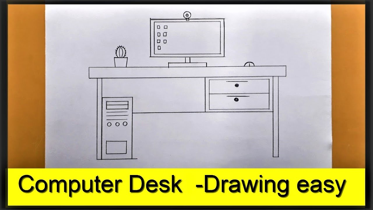 How  to draw a Computer table | Computer Desk Drawing