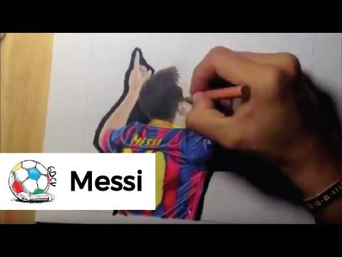 Dibujo de Messi celebrando sus dos goles contra el Getafe despus