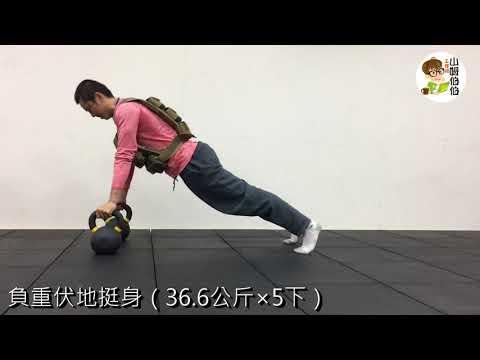 負重式伏地挺身(36.6公斤×5下)