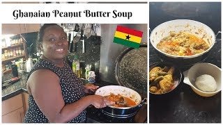 How to make Ghanaian PEANUT BUTTER SOUP - Groundnut Soup - (Nkatenkwan) Rice balls (AMO TUO)