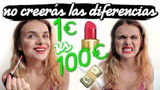 MAQUILLAJE DE 1€ VS MAQUILLAJE DE 100€ | Marina Yers