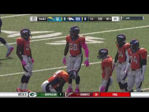 Madden 17 franchise NFLcz week 8 Broncos @ Chargers