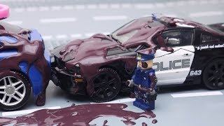 Transformers Stop Motion Part 3 - Optimus Prime vs Police, Tobot, Lego Animation Robot car for kids