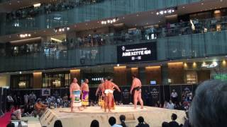 Traditional sumo singing at the Kitte building in front of Tokyo Station.