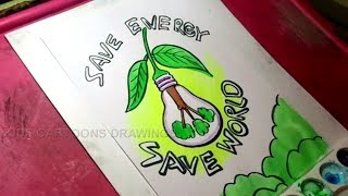 How to Draw Save Energy and Save the World Drawing for kids