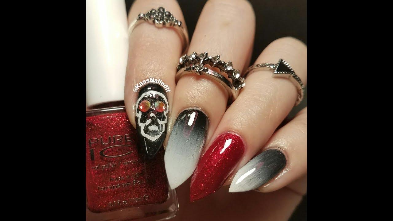 Dia de Los Muertos Skull with Crystal Eyes mani tutorial    DIY Nail ...
