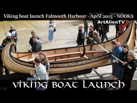 VIKING BOAT LAUNCH - FALMOUTH HARBOUR - UK 2015. Nooka - ArtAlienTV