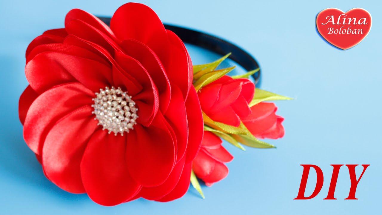 Цветок из ленты на ободок своими руками фото 15