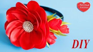 Пышный Цветок из Лент. Ободок для волос / How to make a Lush flower(Здравствуйте дорогие друзья и сегодня мы с вами сделаем пышный цветок из лент а также украсим ободок для..., 2016-05-06T17:15:22.000Z)