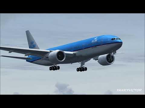 KLM 777-206ER  approach Runway 20 at La Aurora Airport,Guatemala.