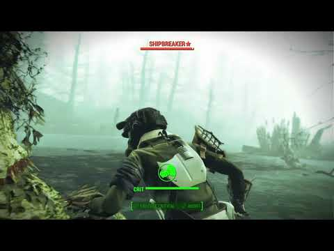 "Fallout 4- legendary enraged fog crawler ""Shipbreaker"" killed in one hit- survival difficulty"