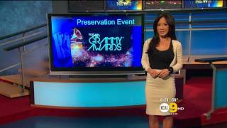 Sharon Tay 2012/02/09 KCAL9 HD; Black tank top