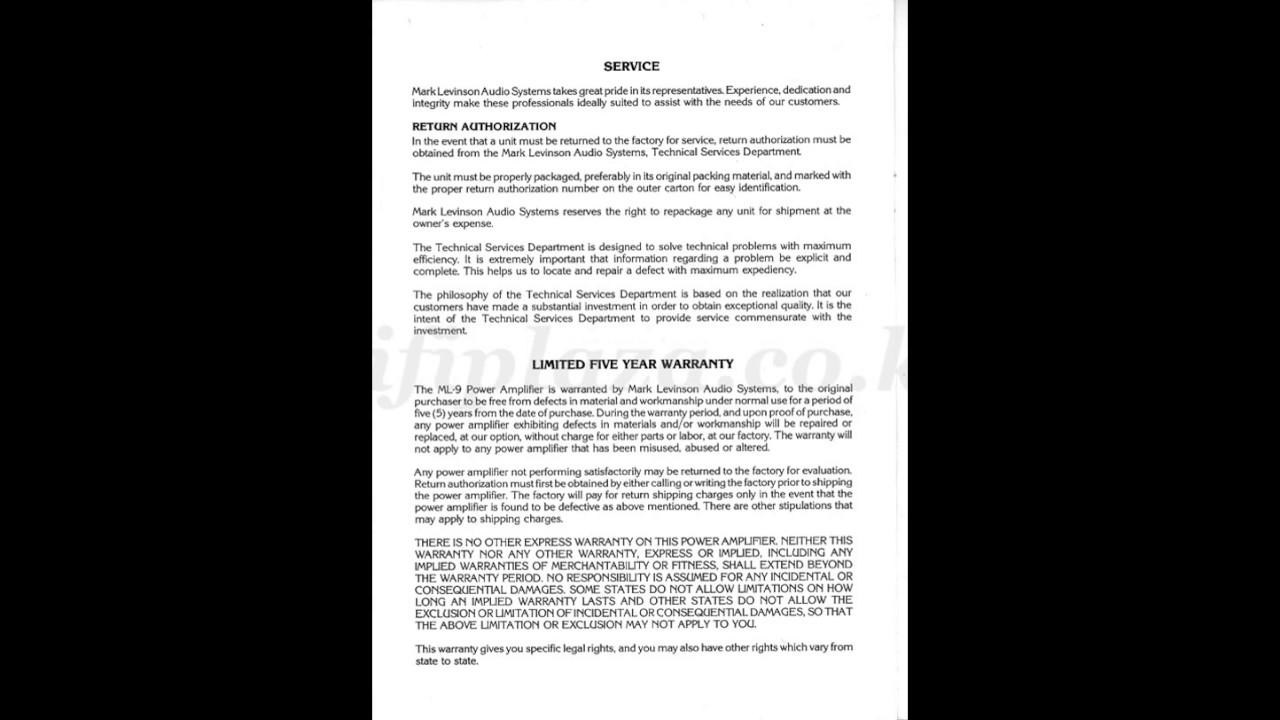 Mark Levinson - ML9 Manual