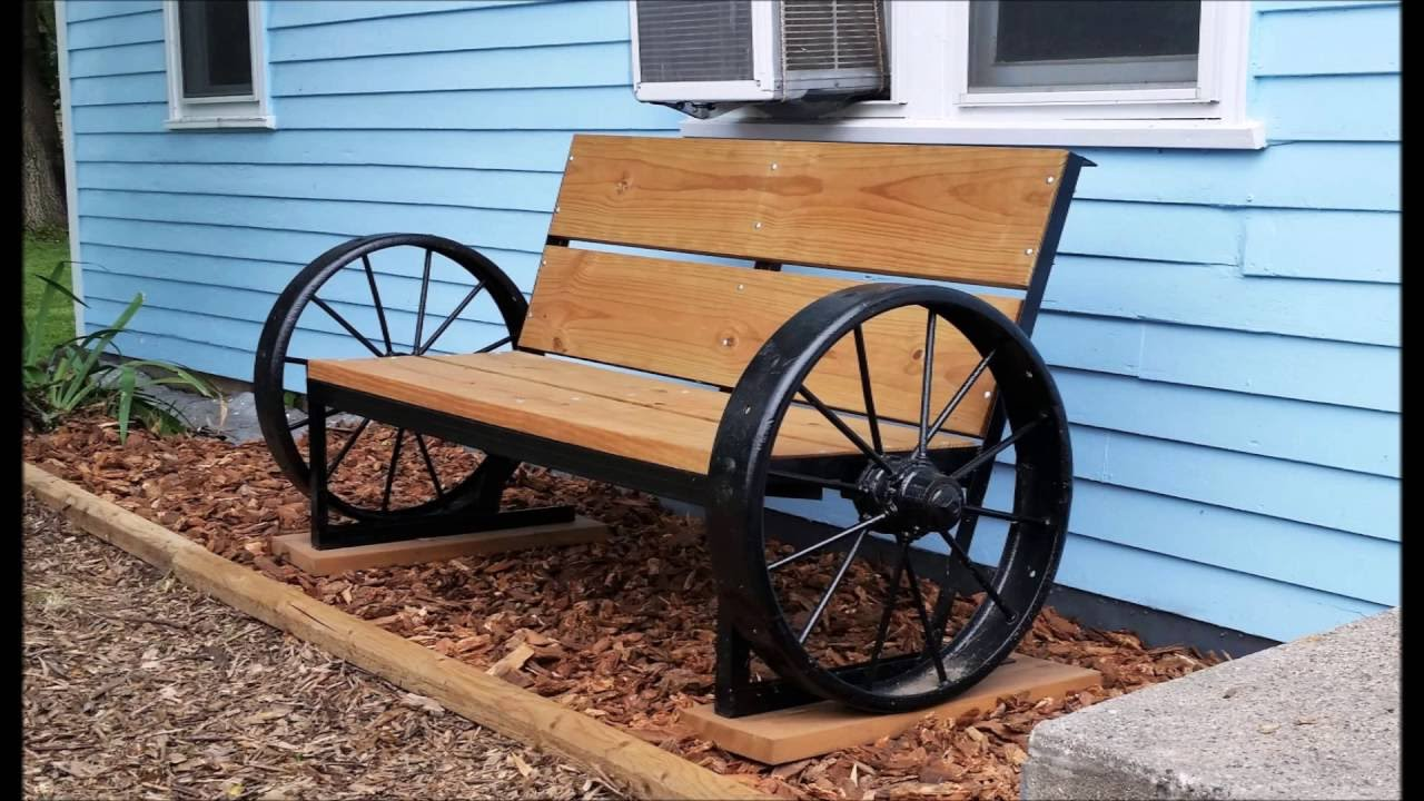 Wagon Wheel Bench In Front Of House Youtube