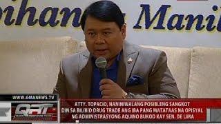 Topacio, naniniwalang sangkot ang iba pang opisyal ng administrasyong Aquino sa bilibid drug trade