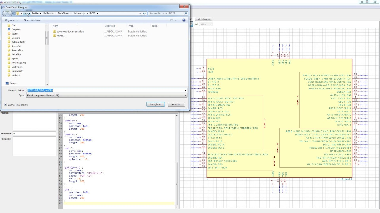 [uConfig] Creates Kicad library file from PDF datasheet in seconds