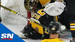 Charlie McAvoy Exits Game After Slamming Into Goal Posts Head First