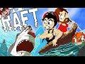 STRANDED in the OCEAN! | DerpRaft vs Sharks! (RAFT Multiplayer - Part 1)