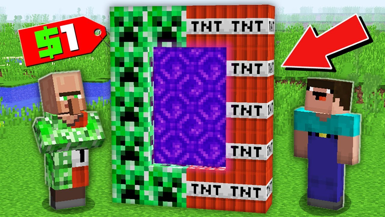 Minecraft NOOB vs PRO: WHY VILLAGER SELLING SECRET CREEPER TNT PORTAL TO NOOB FOR $1 100% trolling