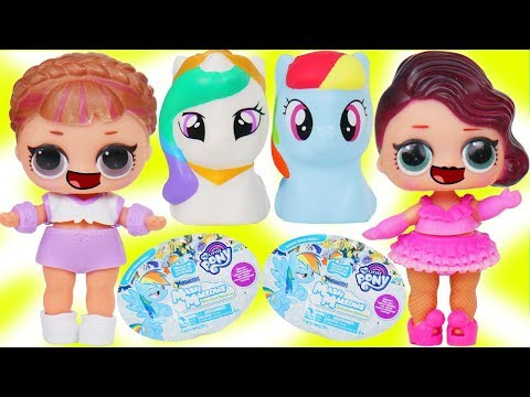 LOL Surprise Dolls + Lil Sisters Open GIANT My Little Pony Squishy Mashems Big Surprise - DIY Toy
