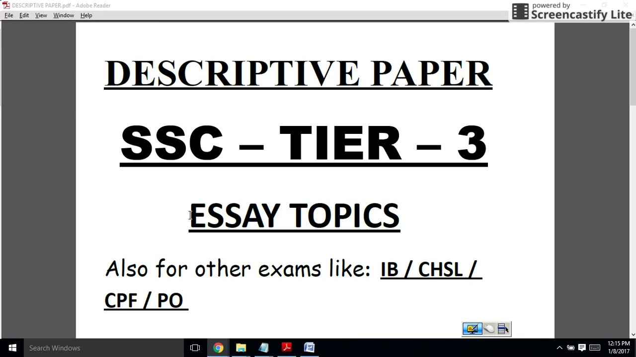 descriptive paper essay topics ssc cgl tier iii