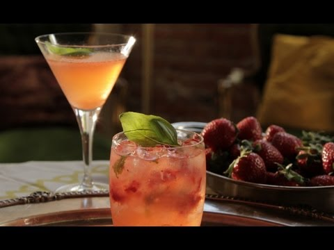 Strawberry Basil Blush Cocktail - Kathy Casey's Liquid Kitchen - Small Screen