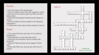 Crossword Puzzle Bible Study - Acts 3,4