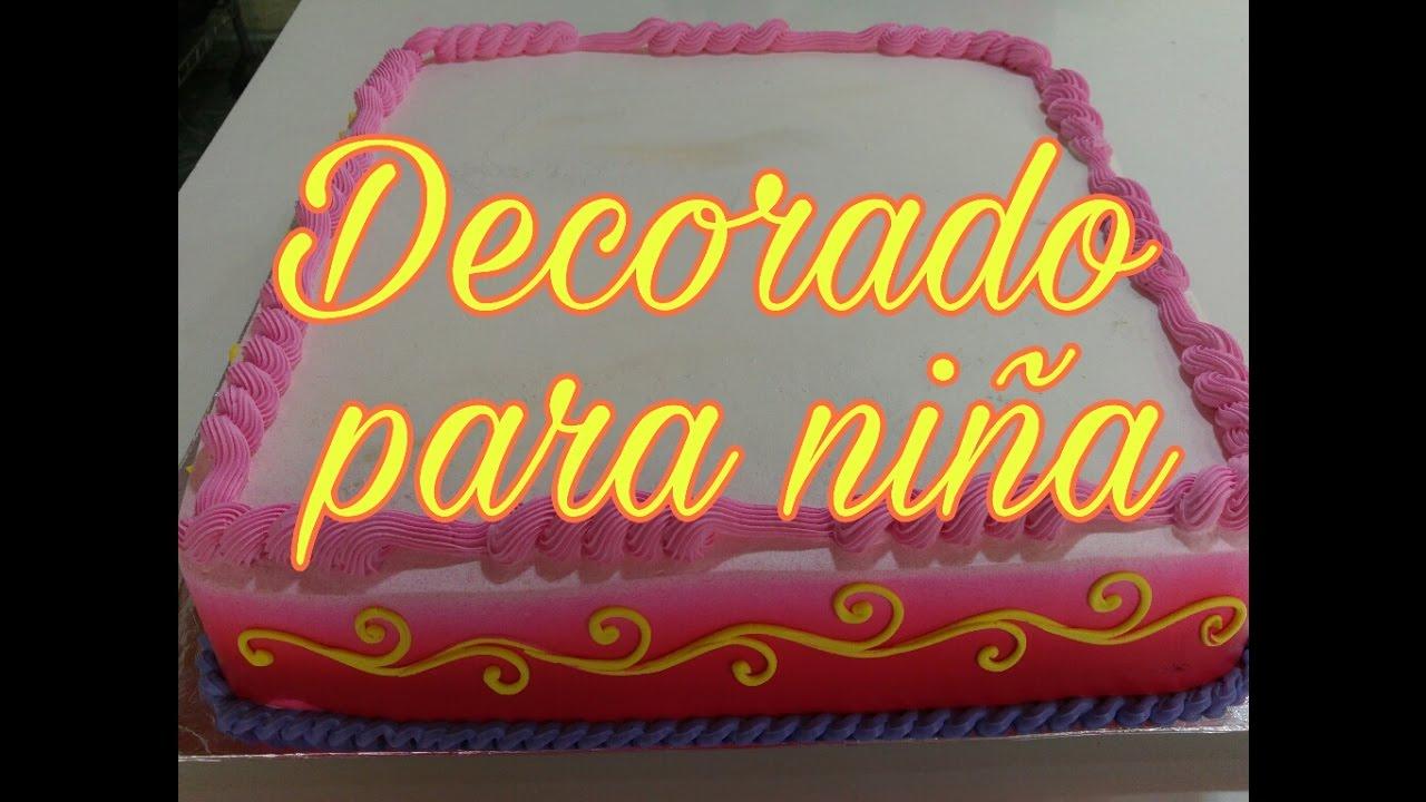 Pastel Cuadrado Decorado Para Nina