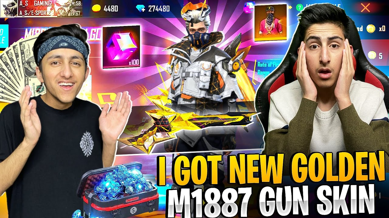Buying Golden Glare M1887 Skin 😍 Wasted 10,000 Diamonds 1 Vs 1 With My Brother - Garena Free Fire