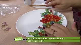 Decoupagem em prato de vidro por Rosa Cancian