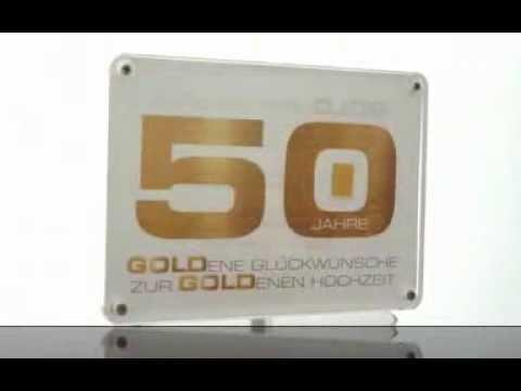 """1 Feingold 999 Goldbarren in einer attraktiven AcrylBox """"50 Jahre Goldhochzeit"""""""