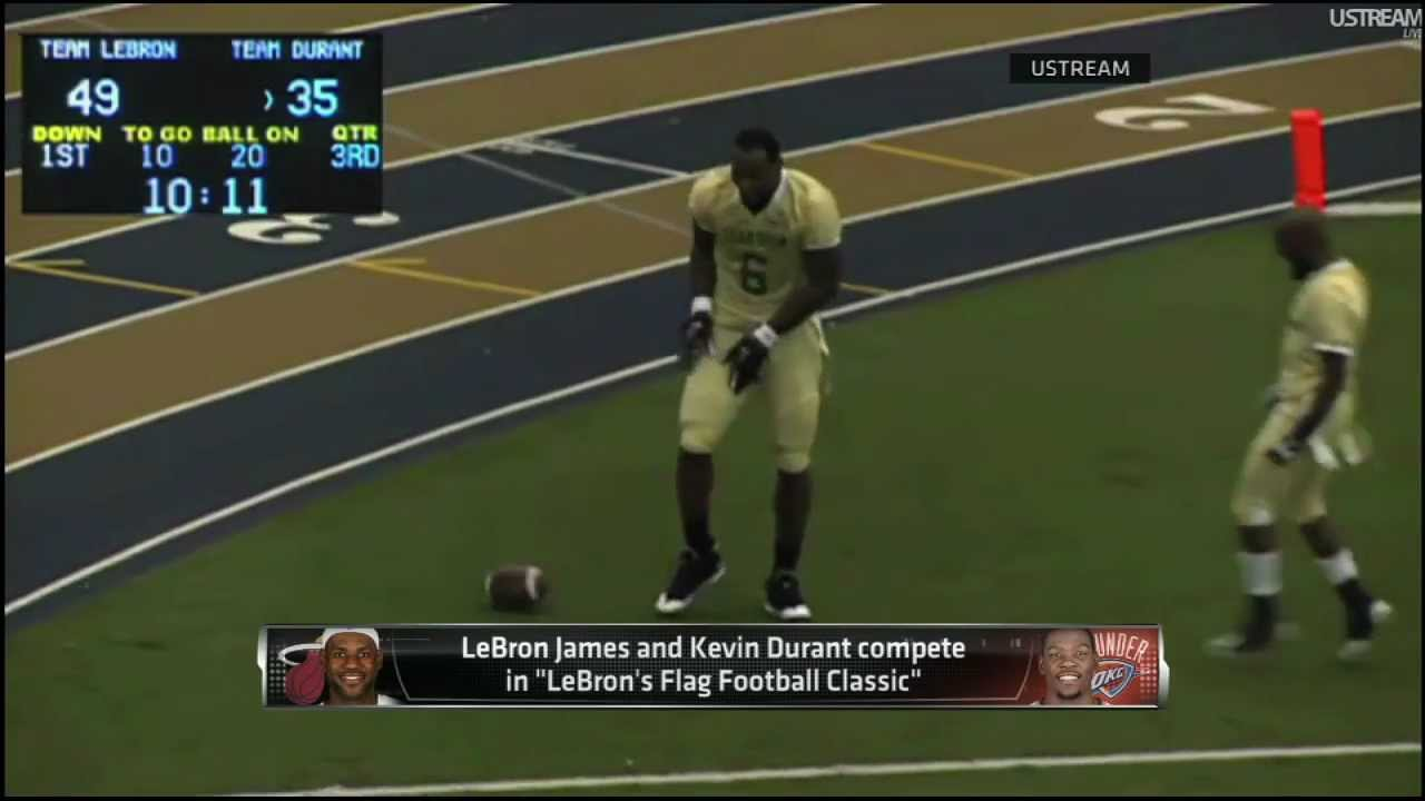 6ae6324a2709 LeBron James   kevin Durant Play Flag Football!. - YouTube