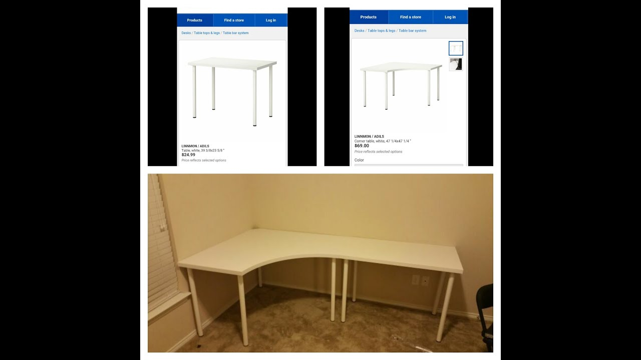 Design Ikea Corner Desk linnmon adils corner desk and regular from ikea youtube