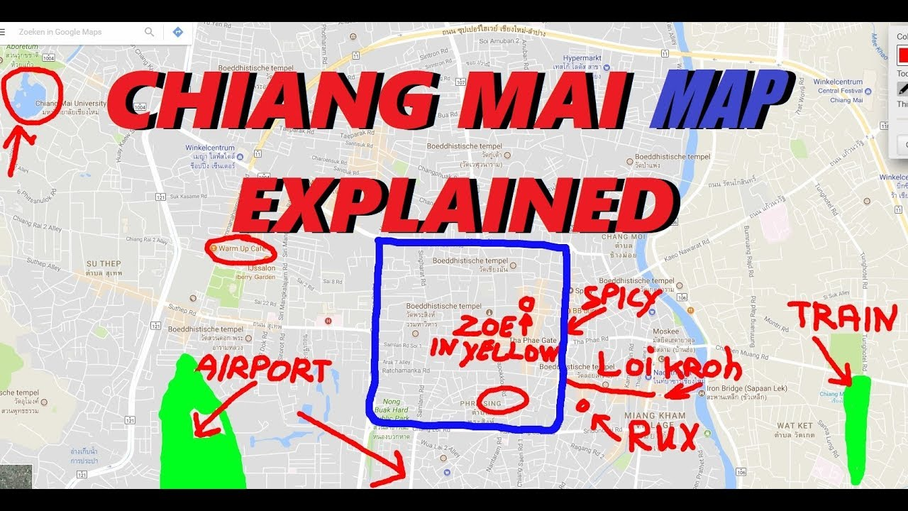 CHIANG MAI MAP explained with NIGHTLIFE, guesthouses, travel info ...