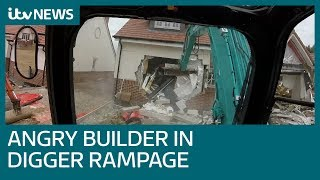 Angry builder jailed after digger demolition rampage | ITV News