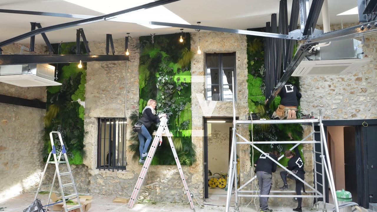 Plante Sur Les Murs installation de mur végétal intérieur en plantes stabilisées