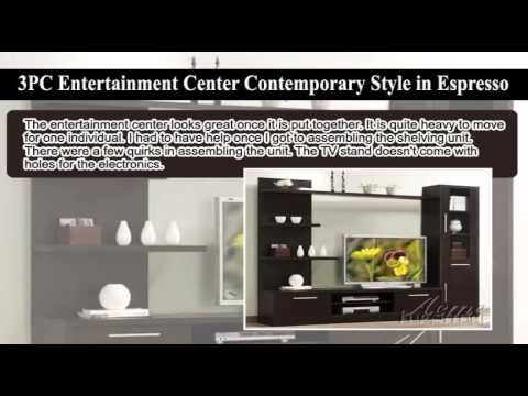 Review 3pc Entertainment Center Contemporary Style in ...