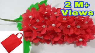 Making red flower bunches using old shopping bag- DIY Shopping bag flower|| Best out of waste idea