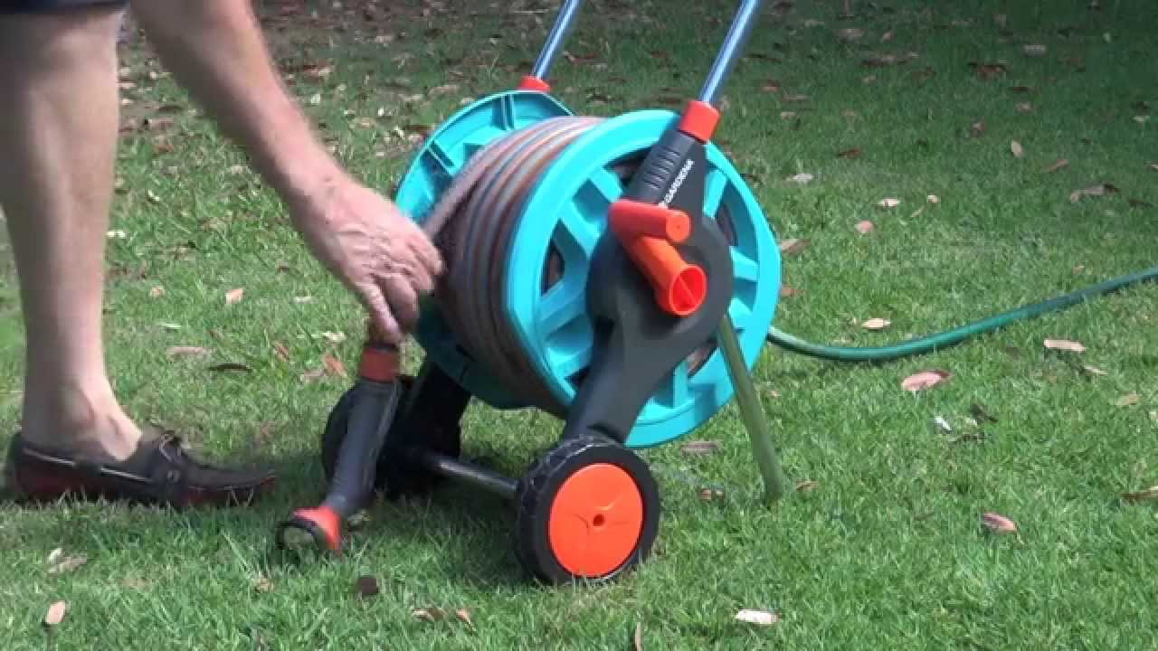 gardena hose reel trolley product test drive viyoutube. Black Bedroom Furniture Sets. Home Design Ideas