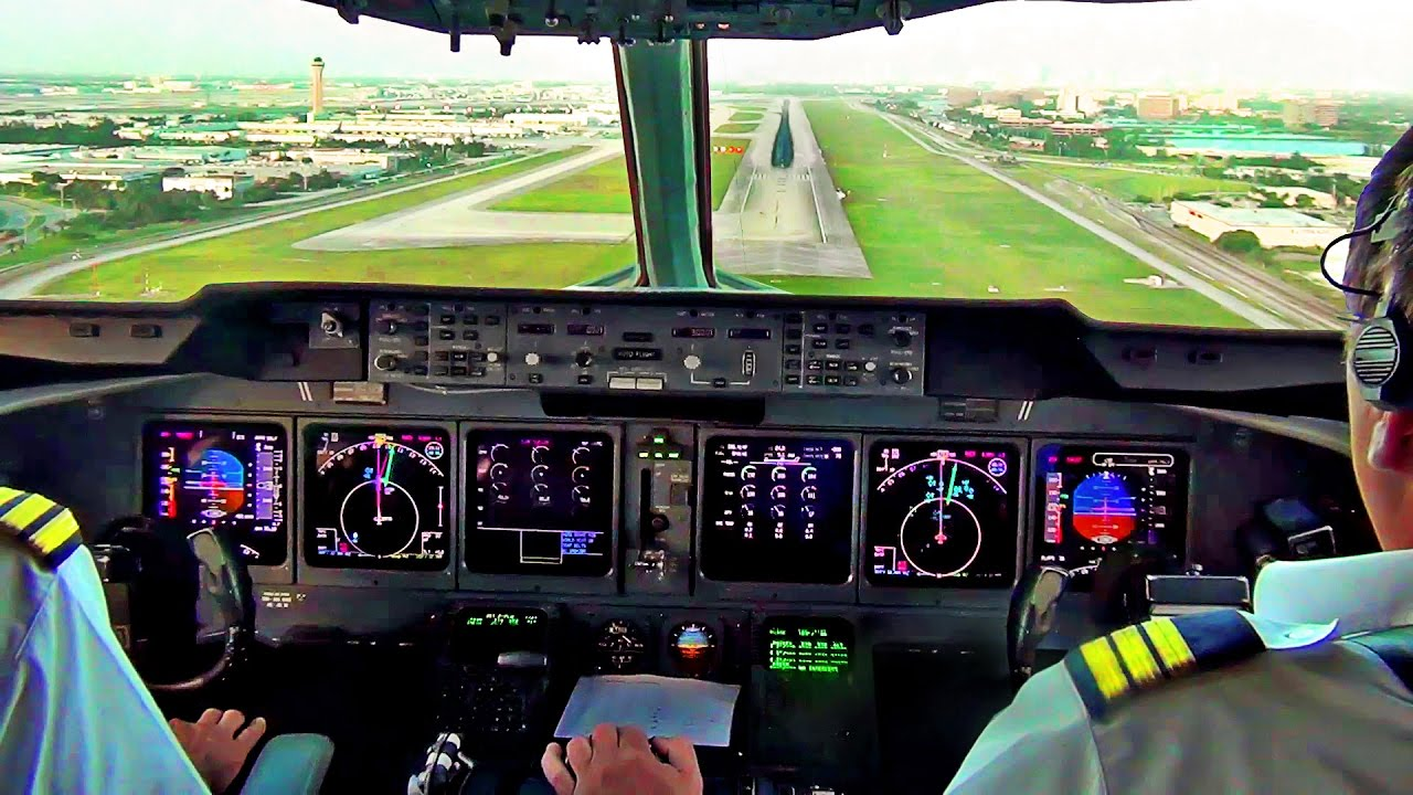 md 11 cockpit view landing in miami martinair cargo youtube