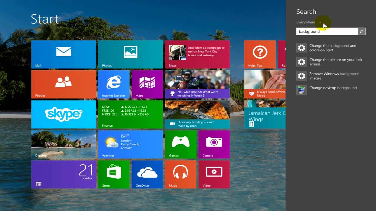 How to Change Windows 8.1 Start Screen Background - Easy & Fun - YouTube