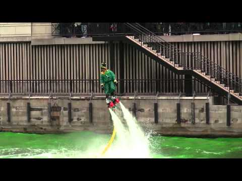 Leprechaun Jet-surfing Above the Chicago River on Saint Patrick's Day (Complete)