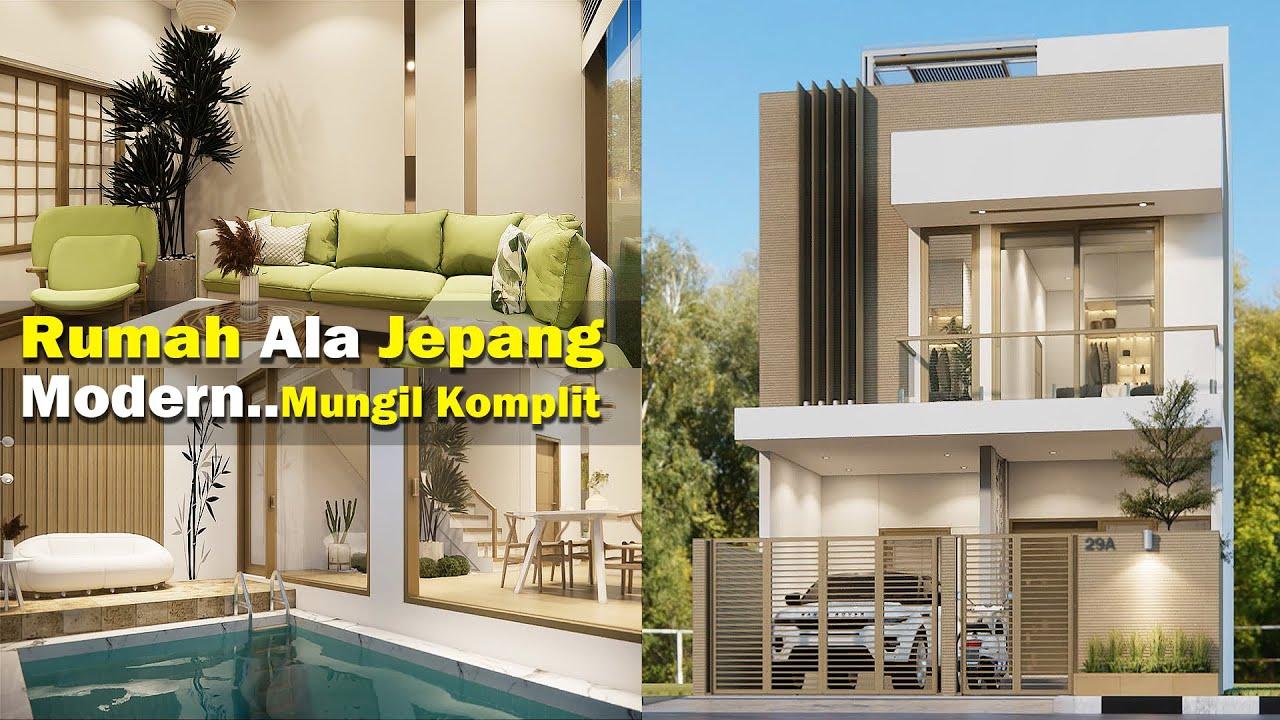 Mungil komplit!Rumah ala jepang 6x15 m ini dilengkapi kolam renang indoor garden rooftop dan mushola